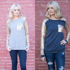 Add a little sparkle to your holiday season with these gorgeous tops! Available in 3 colors to choose, easy to dress up or down! Only $27.99!