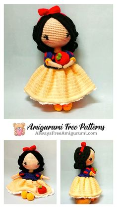 Knitted Doll Patterns, Doll Patterns Free, Crochet Disney, Crochet Amigurumi Free Patterns, Crochet Doll Pattern, Crochet Dollies, Crochet Teddy, Cute Crochet, Crochet Animal Hats