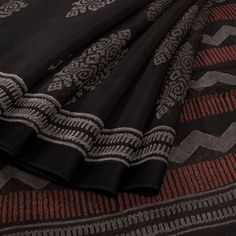 Buy online Hand Printed Black Silk Cotton Saree with Dobby Border 10010883