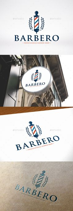 Barber Shop Logo Template by BossTwinsMusic - Three color version: color, greyscale and single color.- You can change text and colors very easy u Shop Logo, Logo Barber Shop, Barber Shop Names, Best Barber Shop, Barber Shop Interior, Barber Shop Decor, Barber Wallpaper, Vintage Barber, Professional Barber Shop