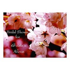 Vibrant cherry blossom bridal shower announcement