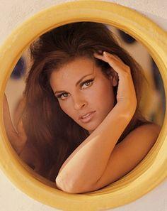 Raquel Welch looking through a porthole