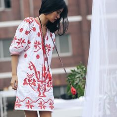 SINCE THEN embroidered ethnic red dress
