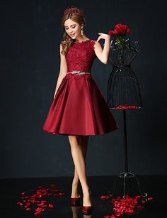 Cocktail Party Dress - Burgundy / Jade Petite Ball Gown Jewel Short/Mini Lace / Charmeuse 2016 – $84.99