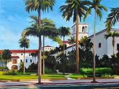 Large Oil Painting on canvas  Santa Barbara by sharonschock