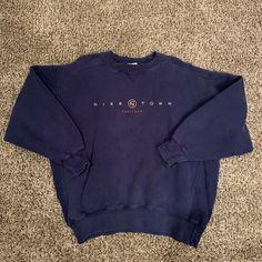 85f2ad837112 Vintage 90s Nike Mens Medium Nike Town Portland Spell Out Crewneck Sweater  Blue  fashion