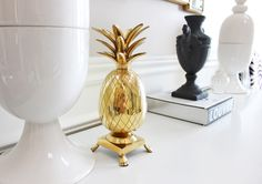 Antique brass pineapple candle holder, Hollywood Regency Brass Pineapple decor, Regency Vestibule Decor, Regency Foyer Entrance decor