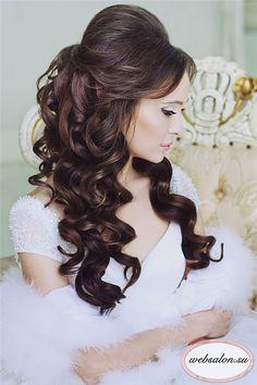 black half up half down wedding hairstyle