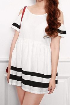 Off-Shoulder Striped Doll Dress : The Art of Vintage-inspired & Cute Women's Clothing | Larmoni