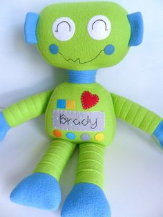 Kids Baby & Toddler Stuffed Toy Rag Doll Robot by 2dancingdogs