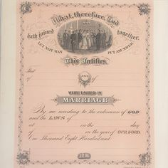 Vintage Wedding Marriage Certificate. Crider & Bro. Blank Unused Victorian Edwardian pink Gift bride groom floral rose by WonderCabinetArts