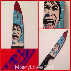 The custom painted Psycho inspired butcher knife art piece. Custom horror decor with Janet Leigh's famous shower scream scene. More pics and for sale at www.miserylovesco.biz and etsy.com shop miserylovesco510 Butcher Knife, Horror Decor, Janet Leigh, Knife Art, Cool Knives, Halloween Horror, Knifes, Custom Paint, Kitchen Knives