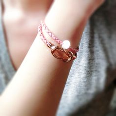 Dream Weaver Double Leather Bracelet - Strawberry Pink Bow Bracelet, Bracelets, Strawberry, Bows, Pink, Leather, Jewelry, Fashion, Arches
