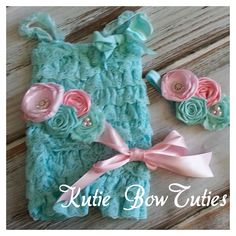 The Vintage Aqua and Pink Romper with sash and by Kutiebowtuties, $19.99