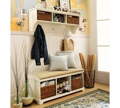 Maps as wallpaper & love the bench and  shelf... need this type of set up for our back door entryway