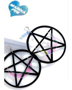 Pentagram Moon Earrings