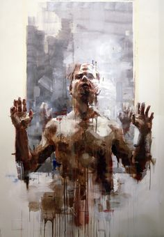 Stunning markmaking in Borondo's figurative painting.