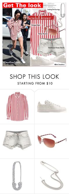 """""""Get The Look : #shirtovershorts - Kendall Jenner"""" by watereverysunday ❤ liked on Polyvore featuring Balenciaga, adidas, Sans Souci, Red Camel and Maison Margiela"""