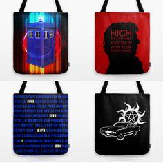 Superwholock Supernatural, Doctor Who, Sherlock themed tote bags from society6. http://society6.com/sarahbevan11