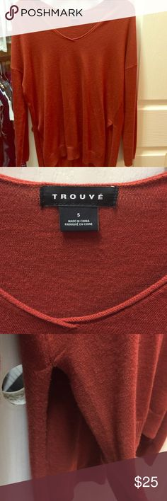 Trouve pumpkin spice sweater Beautiful deep rich  color, soft material, worn 2-3 times. I have the same one in black in a separate listing Trouve Sweaters V-Necks