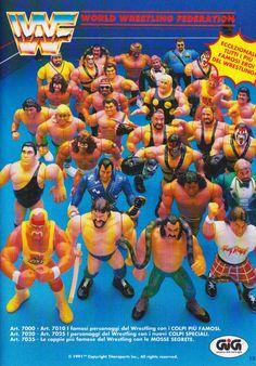 WWF GiG Retro Toys, Vintage Toys, Childhood Toys, Childhood Memories, Wwf Poster, Wwf Toys, Wwf Superstars, Wrestling Superstars, Wrestling Costumes