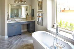 Relaxing Master Bathroom by Shaddock Homes at Phillips Creek Ranch #FreestandingTub #ShaddockHomesTX