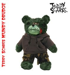"""Teddy Scares Mundy Drudge 12"""" Plush... """"Once soft and cuddly, Now dead and bloody""""... hehe.  WANT!  :-D   http://teddyscares.com/"""