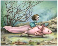 Axolotl Rider | Mab Graves - I have a print of this! It's so beautiful. I notice new things in it every time I see it!