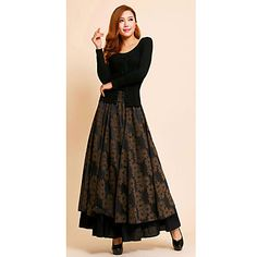 Autumn Winter High Quality thickening Warm Pockets on both sides Fashion Pleated Khaki printing High waist Long skirts