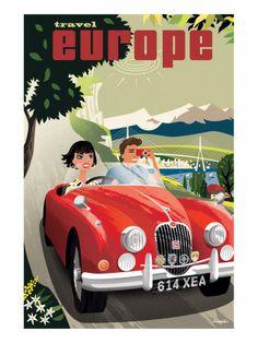 Travel Europe Vintage Poster