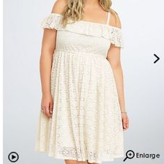 NWT torrid size 3 lace cold shoulder dress NWT torrid size 3 lace cold shoulder dress . Cream color dress with adjustable straps smocking at waist for stretch torrid Dresses