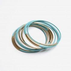 Turquoise & Gold Tube Bangle Set