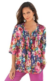 Plus Size Floral Print Bigshirt Stylish Plus, Plus Size Fashion For Women, Plus Size Womens Clothing, Clothes For Women, Floral Print Shirt, Floral Blouse, Floral Tops, Floral Prints, Plus Size Shorts