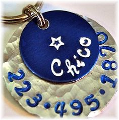 CHICO blue 1inch pet tag by PoochyCouture on Etsy, $13.00