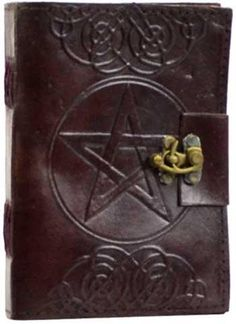 5 X 7 Pentagram Leather Blank Book W- Latch