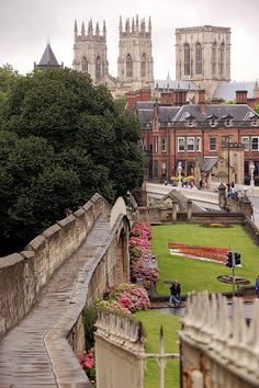 View of York Minster from the city's medieval walls, England