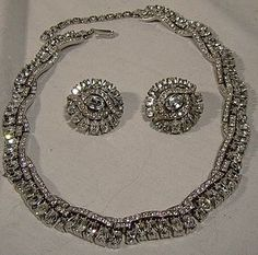 Your place to buy and sell all things handmade Or Antique, Antique Jewelry, Vintage Jewelry, Vintage Costume Jewelry, Vintage Costumes, Beautiful Costumes, Sell Items, Rhinestone Necklace, Earring Set