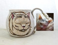 Choose the custom option in my cat loaf mug listing. It is a handmade mug that is hand painted with glazes. This is a permanent, dishwasher and microwave safe mug. You can also contact me through my email. susanaltenau@gmail.com Cat Gifts, Dog Lover Gifts, Dog Lovers, All Black Cat, Pet Dogs, Pets, Cat Mug, Great Birthday Gifts, Pottery Mugs