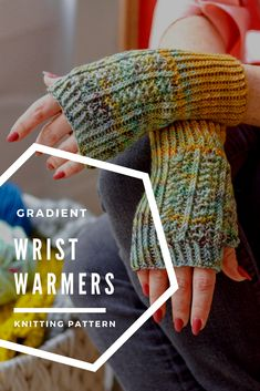 Knit these ombre effect wrist warmers for everyone you know! Gorgeous hand-dyed yarn, paired with twisted rib, subtle striping, and a lacy panel make these mitts as fun to knit as they are to wear! Design by Vickie Howell Knitting Patterns, Crochet Patterns, Fingerless Gloves Knitted, Ombre Effect, Wrist Warmers, Hand Dyed Yarn, Knit Crochet, Mini, Accessories