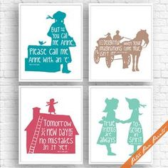 Anne of Green Gables Inspired - Set of 4 Art Print (Unframed) (Featured in Ocean, Latte, Rouge and Sea Foam) Peter Pan Prints - Site Title All Poster, Poster Wall, Poster Prints, Anne Shirley, Wizard Of Oz Quotes, Anne Green, Wall Art Prints, Framed Prints, Anne With An E