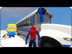 Spiderman#Minions Nursery Rhymes Songs for Children Wheels On The Bus