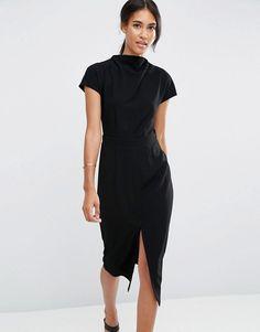 ASOS | ASOS High Neck Wiggle Dress with Split Front