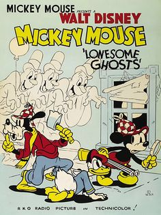 Lonesome Ghosts Disney Cartoon short starring Mickey Mouse, Donald Duck, and Goofy. Walt Disney Treasures Mickey Mouse in Living Color: A Collection of Color Adventures Disc Posters Disney Vintage, Disney Movie Posters, Film Disney, Cartoon Posters, Retro Cartoons, Old Cartoons, Classic Cartoons, Vintage Cartoon, Disney Cartoons
