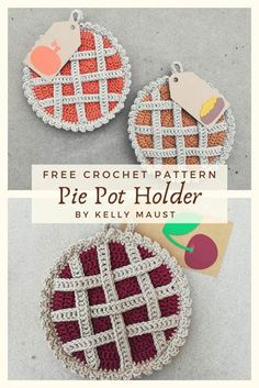easter crochet patterns A free crochet pattern of a pie potholder. Do you also want to crochet this pie potholder? Read more about the Free Crochet Pattern Pie Pot Holder. Crochet Easter, Thanksgiving Crochet, Easter Crochet Patterns, Cute Crochet, Free Christmas Crochet Patterns, Crochet Hot Pads, Crotchet, Crochet Potholders, Crochet Stitches