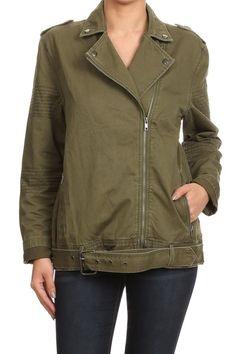 379dd164b5 Casual Slim Fit Biker Jacket Army Green