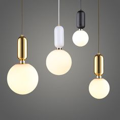 Designer Pendant Lamp White Glass Ball Hanging Light Fixture Modern Pendant Glass Pendant Light For Kitchen Dining Room Hotel(China) Cheap Pendant Lights, Modern Pendant Light, Pendant Lighting, Table Lighting, Pendant Lamps, Glass Chandelier, Luminaire Led, Lampe Led, Led Lamp