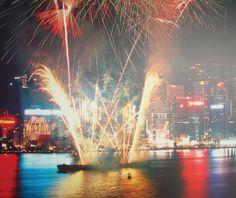 Fireworks light up Hong Kong.