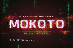 Ad: Mokoto Glitch Typeface by Drizy on Introducing a new layered multiply typeface called Mokoto ! Mokoto is an experimental font that gives the appearance of digital glitching Great Fonts, New Fonts, Awesome Fonts, Glitch Font, Typographie Fonts, Glitch Effect, Typeface Font, Script Lettering, Creative Typography