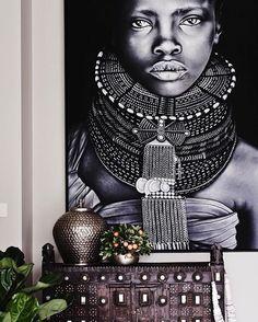 Cómo agregar un estilo étnico elegante a tu sala de estar # étnico Style Tribal, Ethno Style, Tribal Art, Tribal Decor, Ethnic Decor, African Interior Design, African Design, African Art, African Style