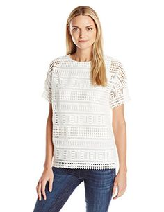 Vince Women's Geo Lace Top, Off White, Large *** For more information, visit image link.
